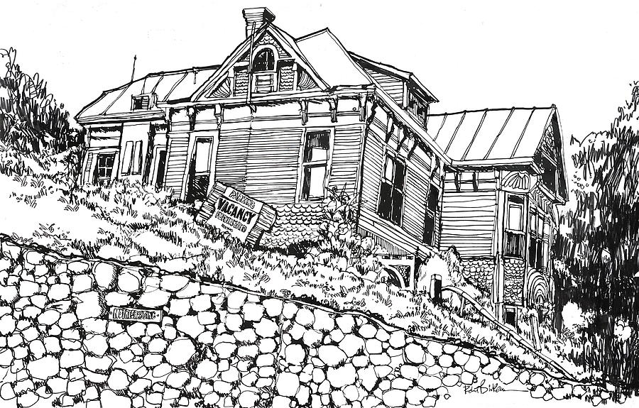 Los Angeles Victorian Home In Bunker Hill Area Drawing