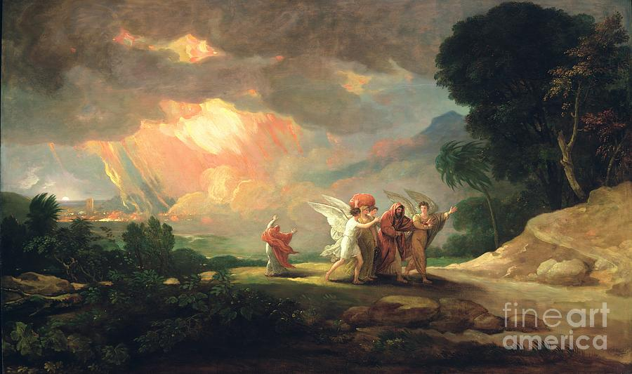 Lot Fleeing From Sodom Painting