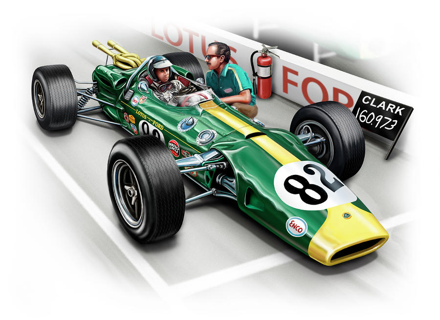 Lotus 38 Indy 500 Winner 1965 Digital Art  - Lotus 38 Indy 500 Winner 1965 Fine Art Print