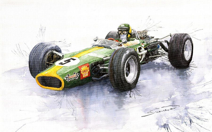 Lotus 49 Ford F1 Jim Clark Painting  - Lotus 49 Ford F1 Jim Clark Fine Art Print