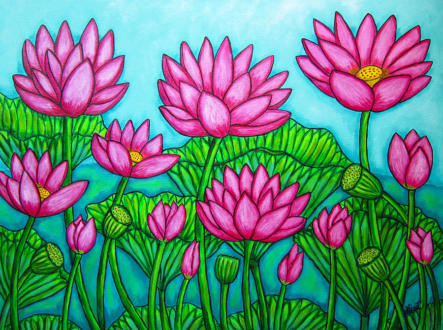 Lotus Bliss II Painting  - Lotus Bliss II Fine Art Print
