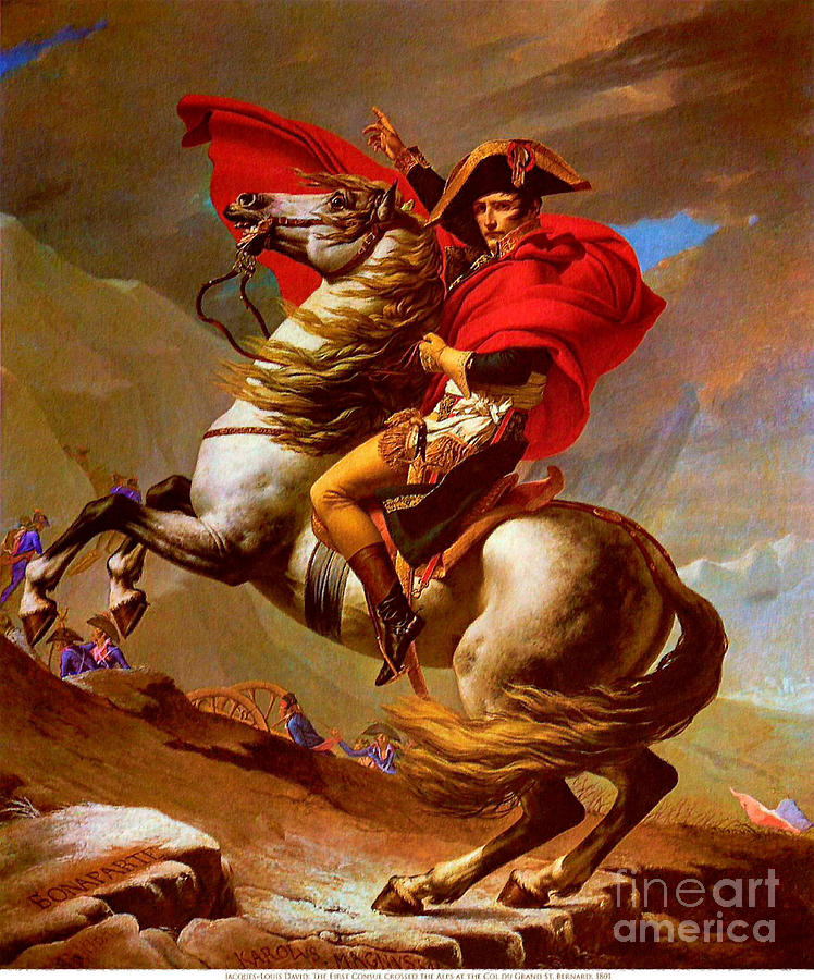 Louis Napoleon At The St Bernard Pass Painting  - Louis Napoleon At The St Bernard Pass Fine Art Print