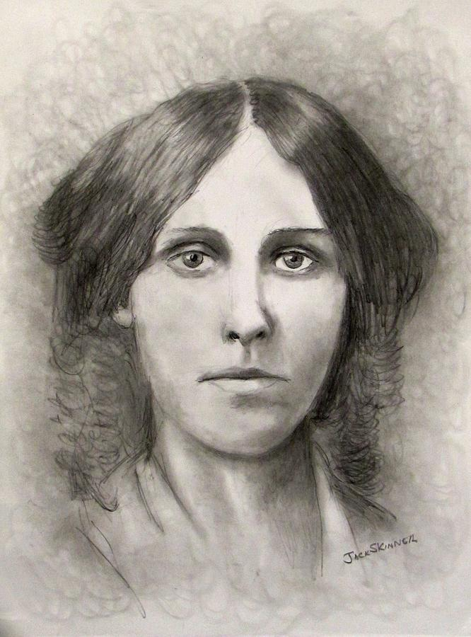 Louisa May Alcott Drawing  - Louisa May Alcott Fine Art Print