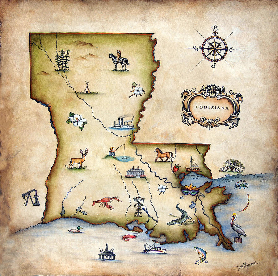 Louisiana Map Painting