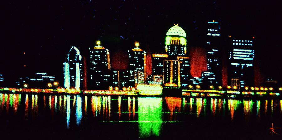 Louisville Painting - Louisville In Black Light by Thomas Kolendra
