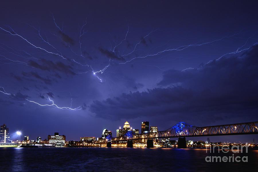Lightning Photograph - Louisville Storm - D001917b by Daniel Dempster