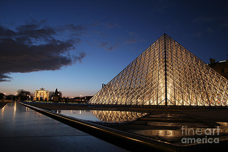 Louvre Puddle Reflection Photograph  - Louvre Puddle Reflection Fine Art Print