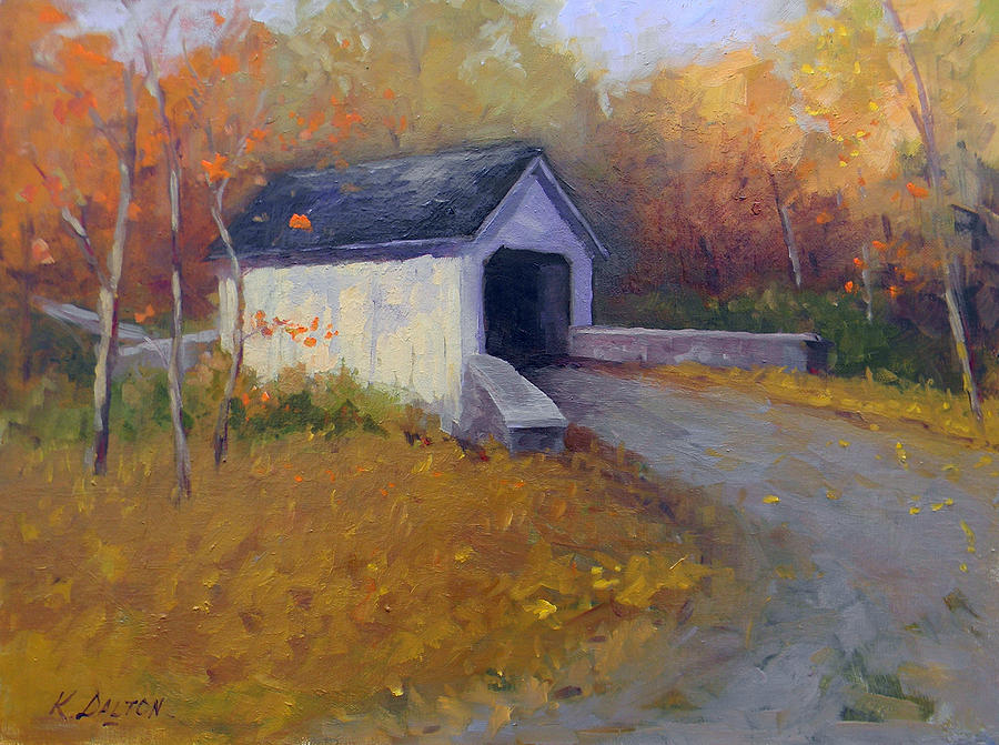 Loux Covered Bridge In Bucks County Painting  - Loux Covered Bridge In Bucks County Fine Art Print