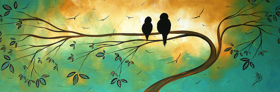 Love Birds By Madart Painting  - Love Birds By Madart Fine Art Print
