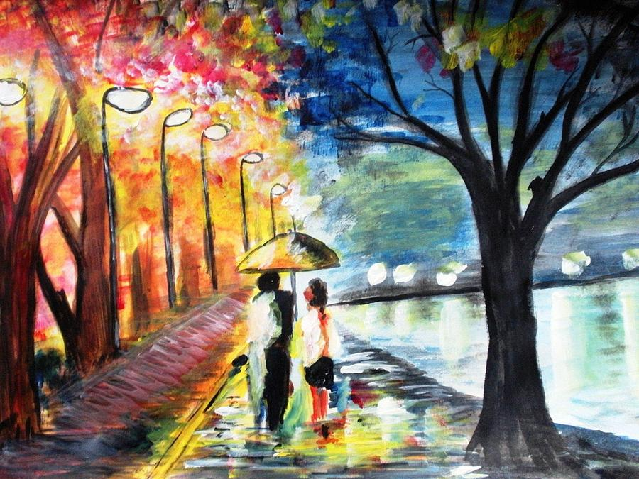 love fusion Light and Rain Painting by Kshiteej Chapagain