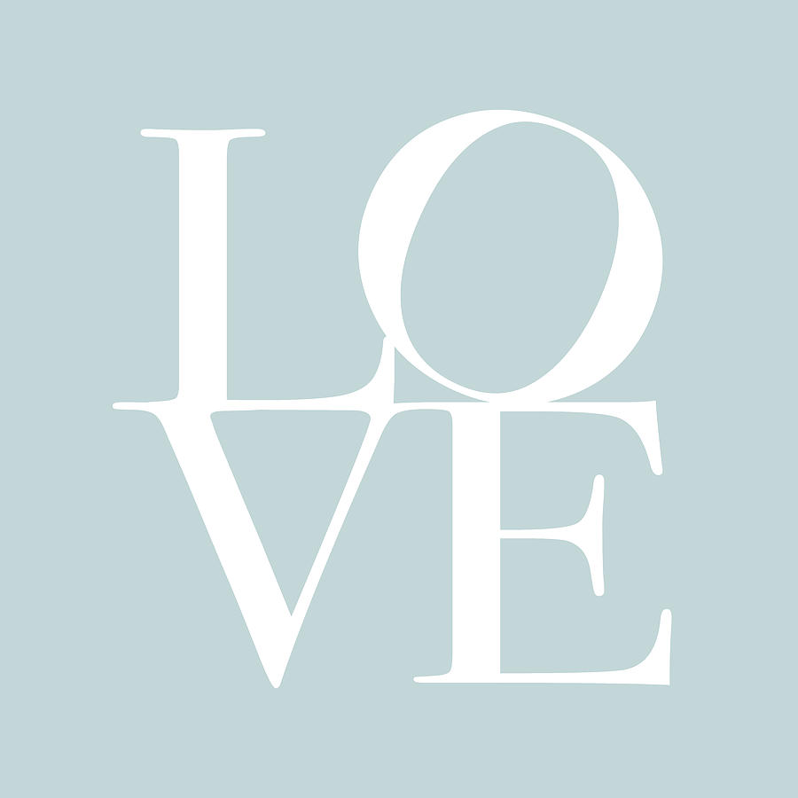 Love In Duck Egg Blue Digital Art  - Love In Duck Egg Blue Fine Art Print