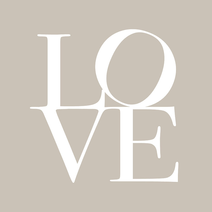 Love In Taupe Digital Art  - Love In Taupe Fine Art Print