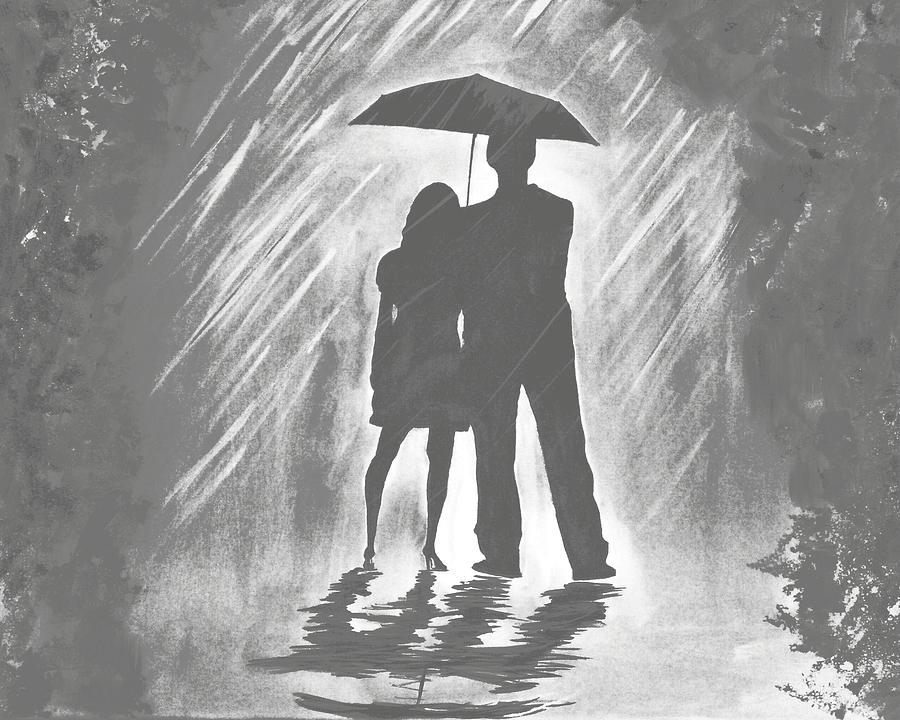Images Of Lovers In Rain: Love In The Rain B Painting By Leslie Allen