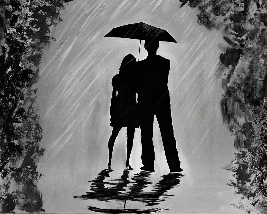 Images Of Lovers In Rain: Love In The Rain Series A Painting By Leslie Allen