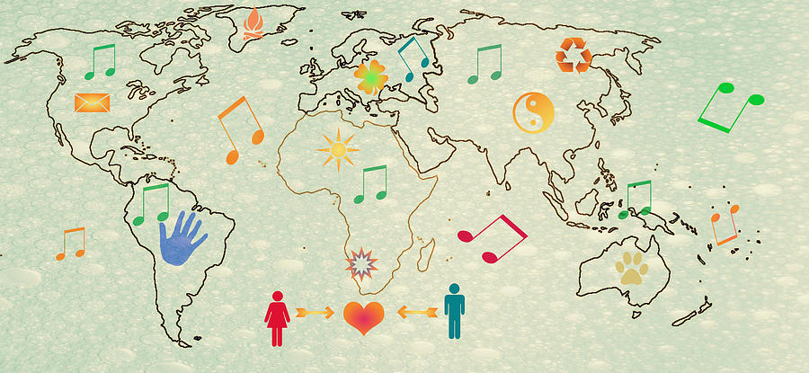 Love Music World Map Digital Art  - Love Music World Map Fine Art Print