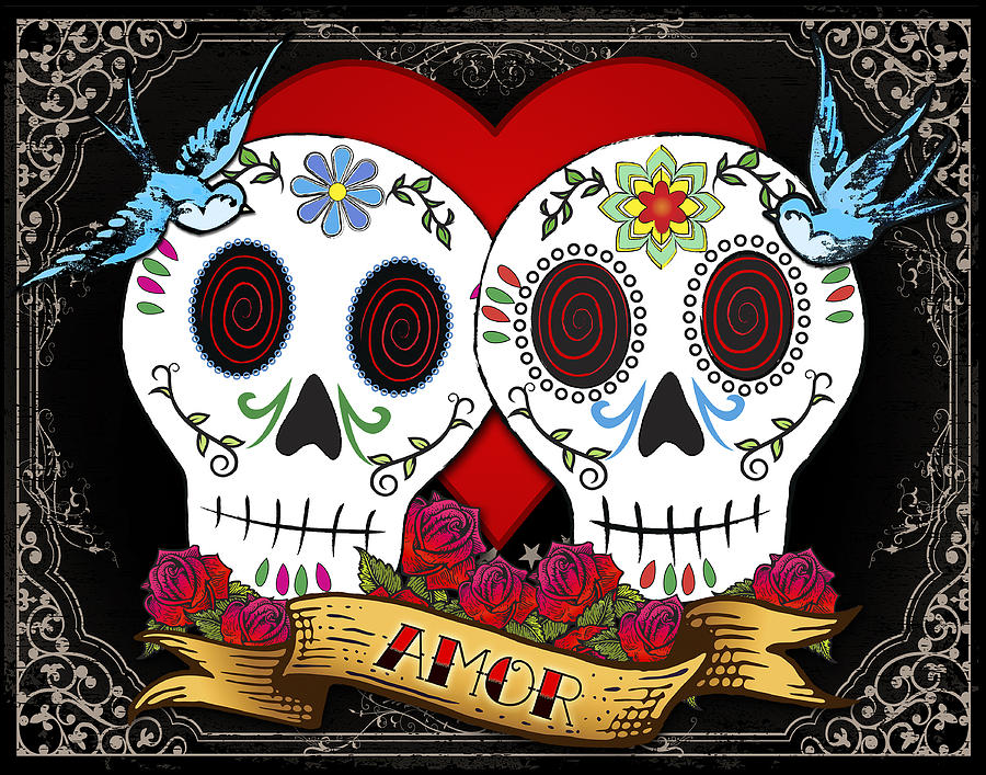 Love Skulls II Digital Art  - Love Skulls II Fine Art Print