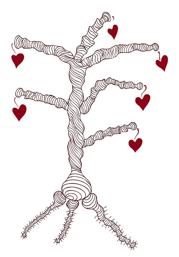 Love Tree Drawing  - Love Tree Fine Art Print