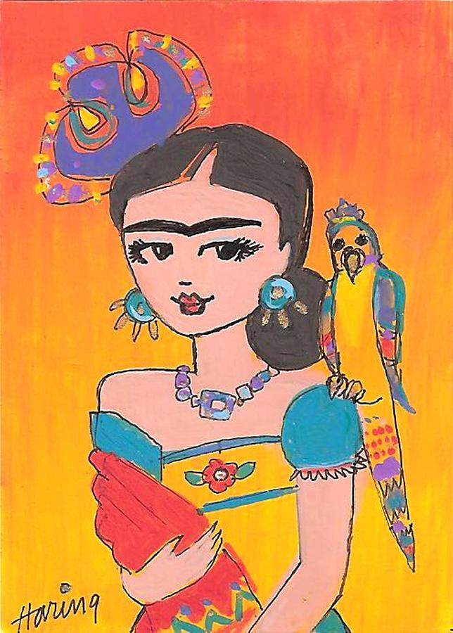 Lovely Frida And Her Parrot Painting  - Lovely Frida And Her Parrot Fine Art Print