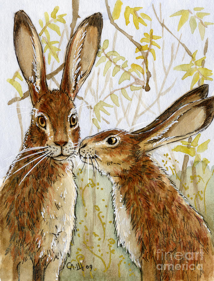 Lovely Rabbits - Little Kiss  Painting  - Lovely Rabbits - Little Kiss  Fine Art Print