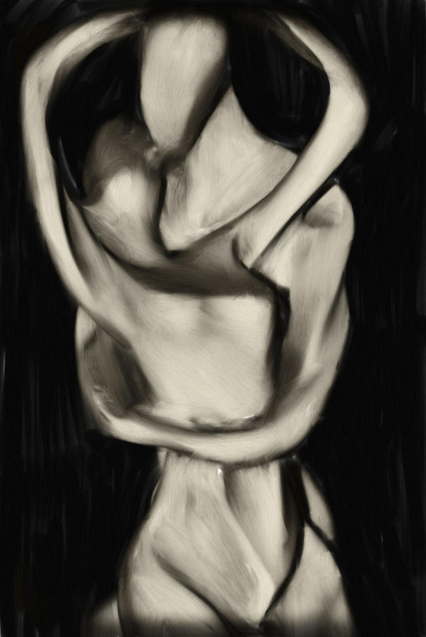 Lovers Embrace Digital Art  - Lovers Embrace Fine Art Print