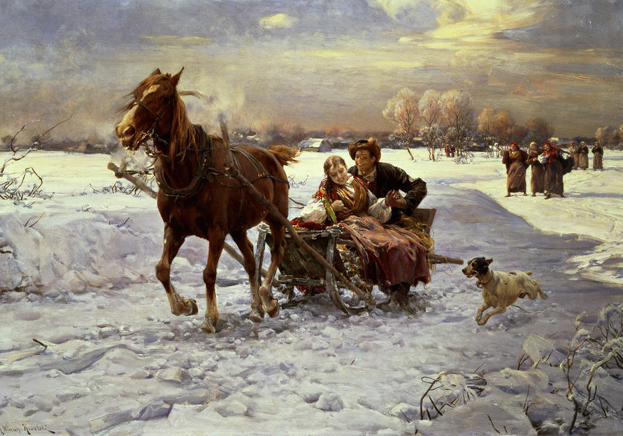 Lovers In A Sleigh Painting