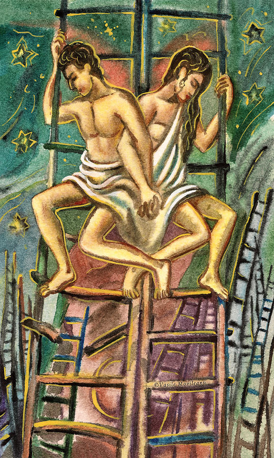 Lovers On Stairs Painting