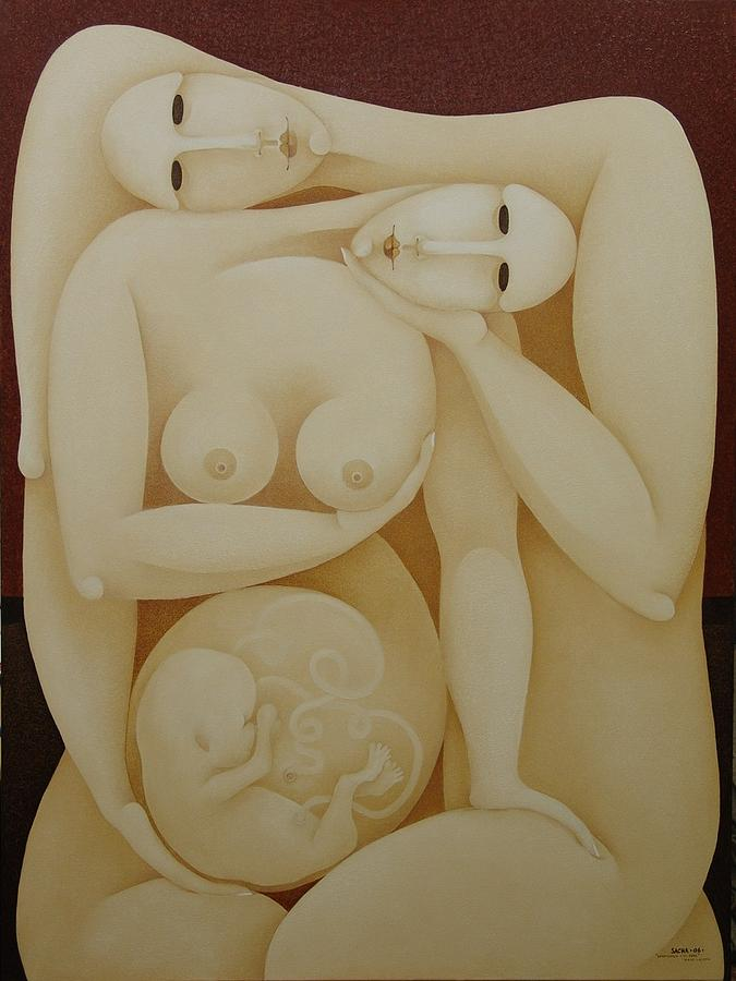 Lovers With Fetus Painting