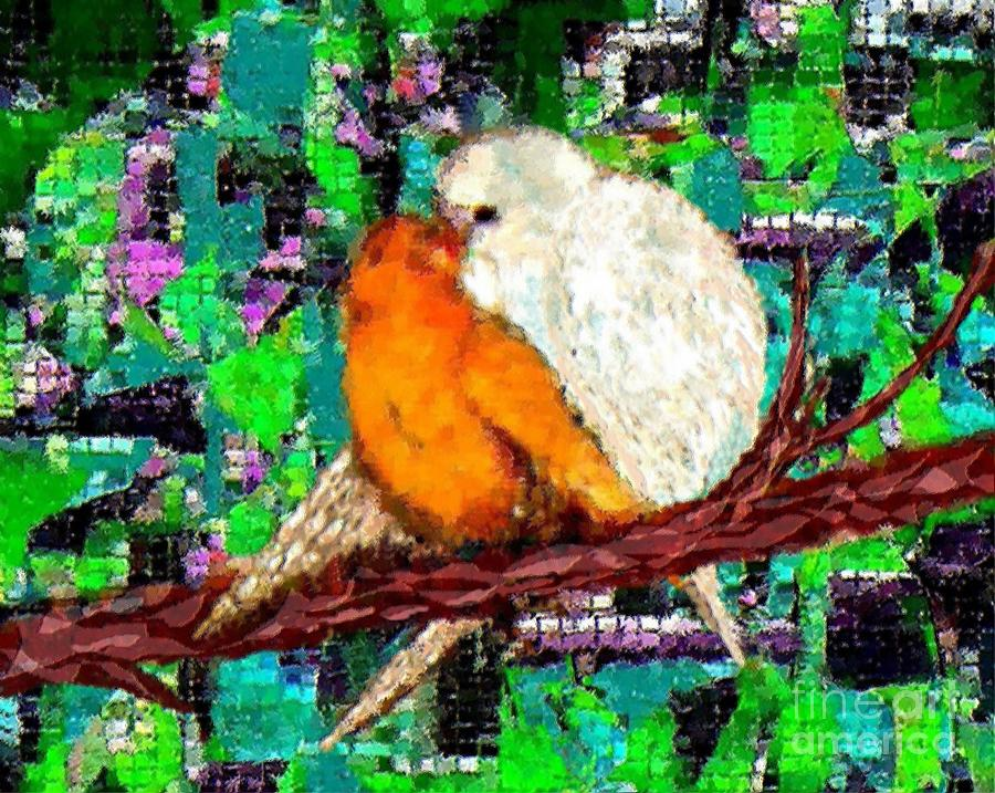 Loving Birds Painting  - Loving Birds Fine Art Print