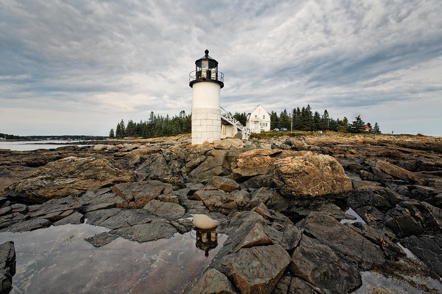 Low Angle View Of The Marshall Point Lighthouse Maine Photograph