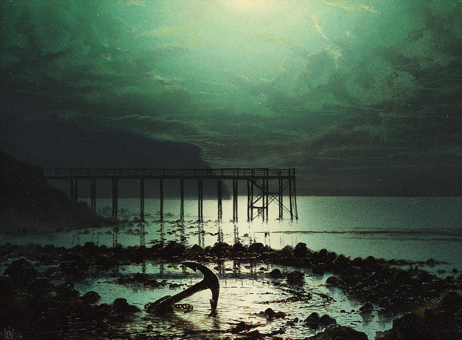 Low Tide By Moonlight Painting