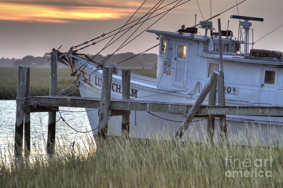 Lowcountry Shrimp Boat Sunset Photograph  - Lowcountry Shrimp Boat Sunset Fine Art Print
