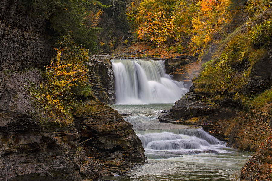 Lower Falls In Autumn Photograph  - Lower Falls In Autumn Fine Art Print