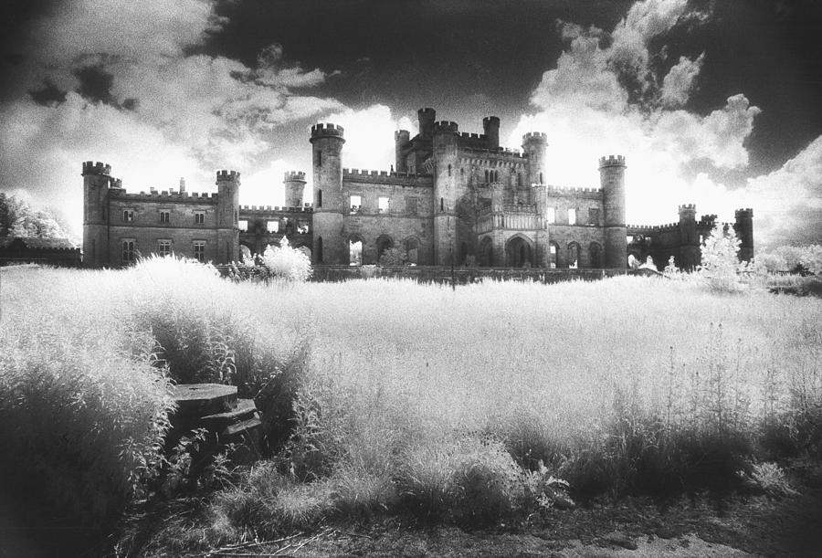 Castellated; Crenellated; Towers; Exterior; Architecture; English; Facade; Gothic; Ghostly; Atmospheric; Striking; Dramatic; Landscape; Eerie; Mysterious; Sinister Photograph - Lowther Castle by Simon Marsden
