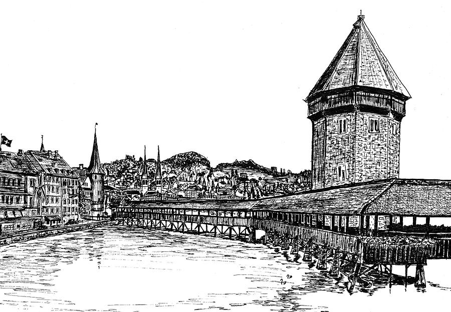 Lucerne Drawing  - Lucerne Fine Art Print