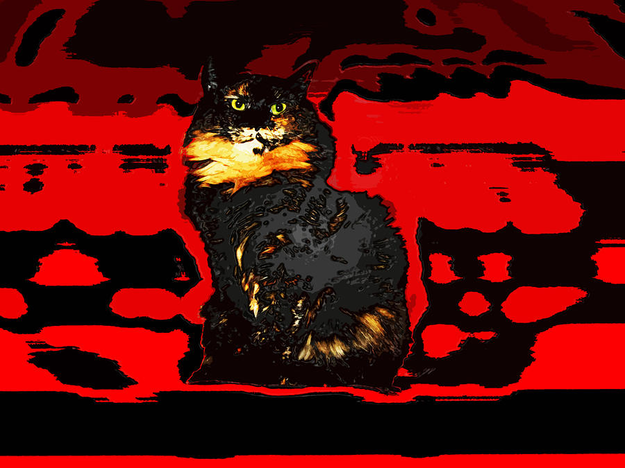 Lucy Like Woodcut Digital Art