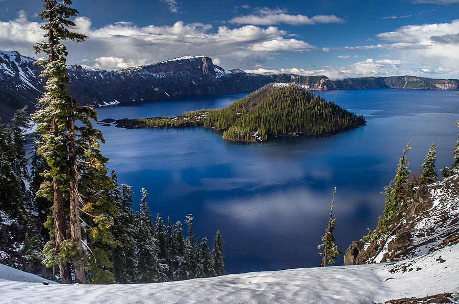 Luminous Crater Lake Photograph