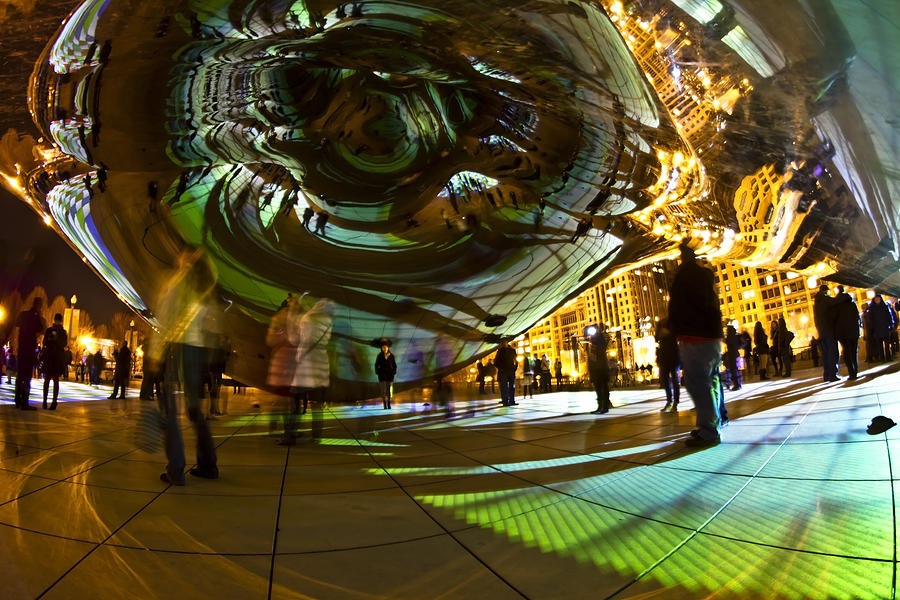 Luminous Light Show Under The Bean Photograph  - Luminous Light Show Under The Bean Fine Art Print