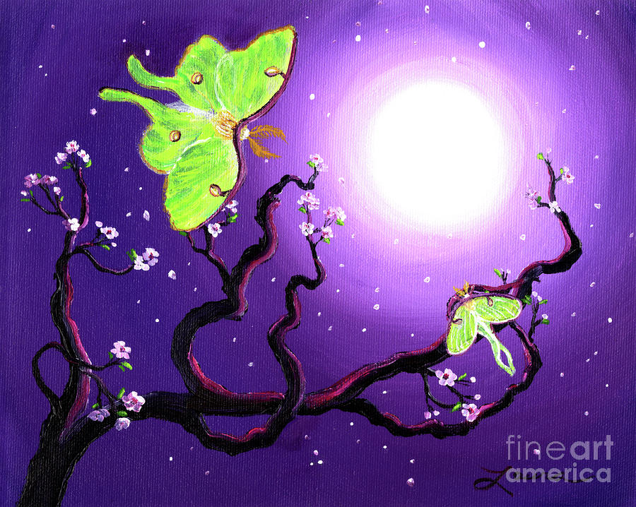 Luna Moths In Moonlight Painting  - Luna Moths In Moonlight Fine Art Print