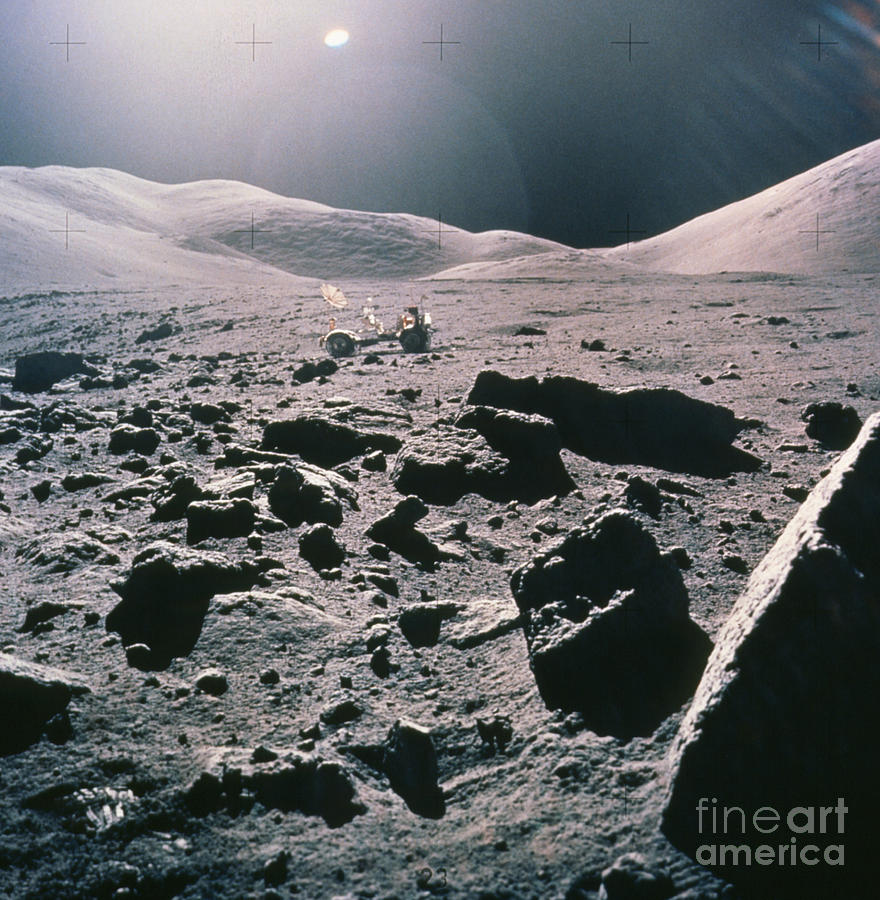 Lunar Rover At Rim Of Camelot Crater Photograph