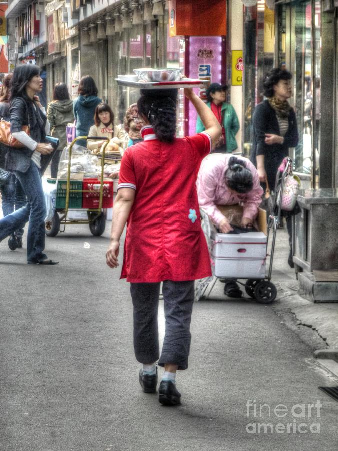 Lunch Run In Namdaemun Photograph  - Lunch Run In Namdaemun Fine Art Print