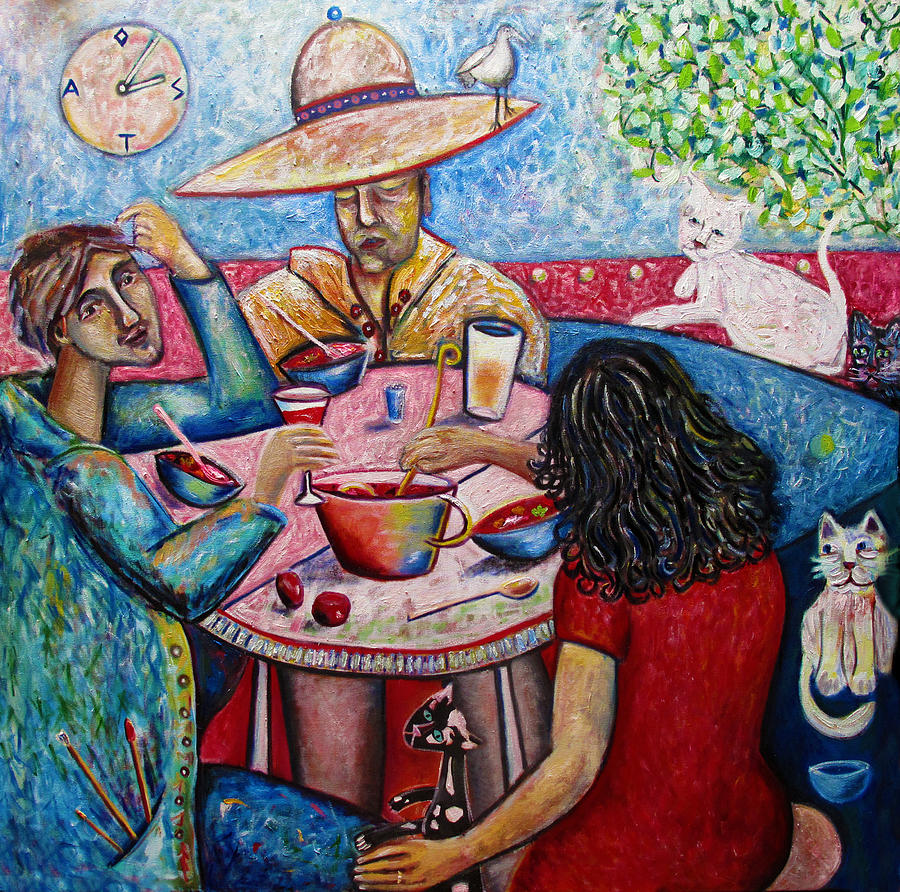 Lunch with toller cranston painting by andrew osta for Art print for sale