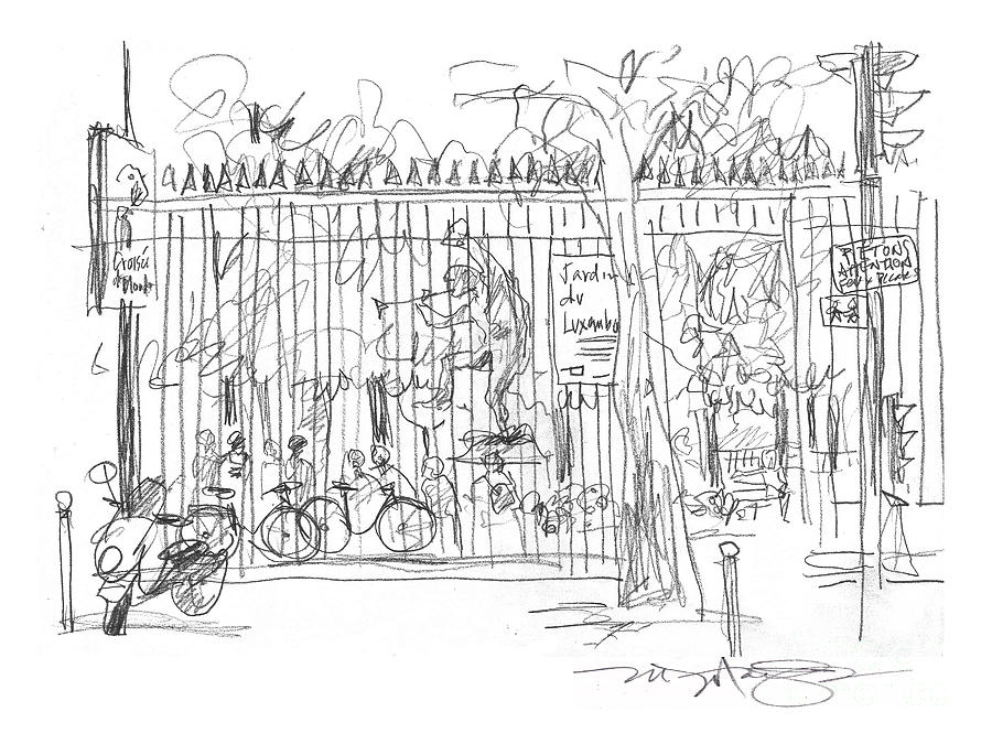 Luxembourg Garden Gate Drawing