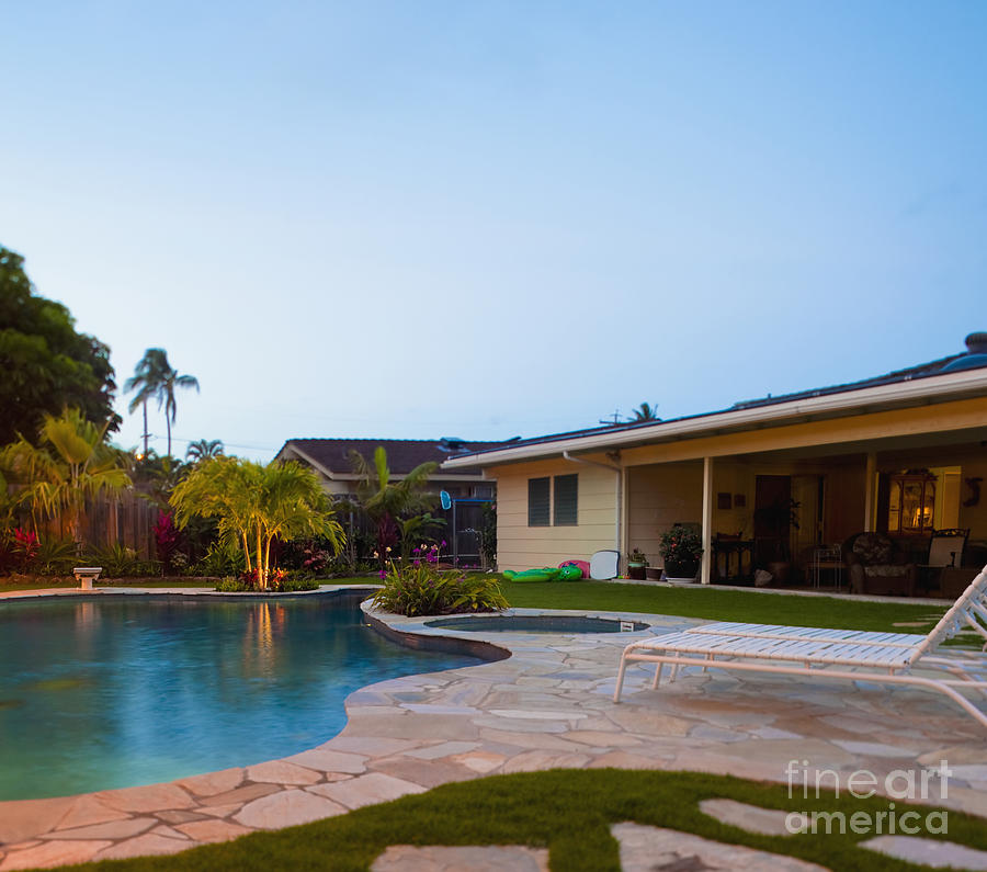 Luxury Backyard Pool And Lanai Photograph