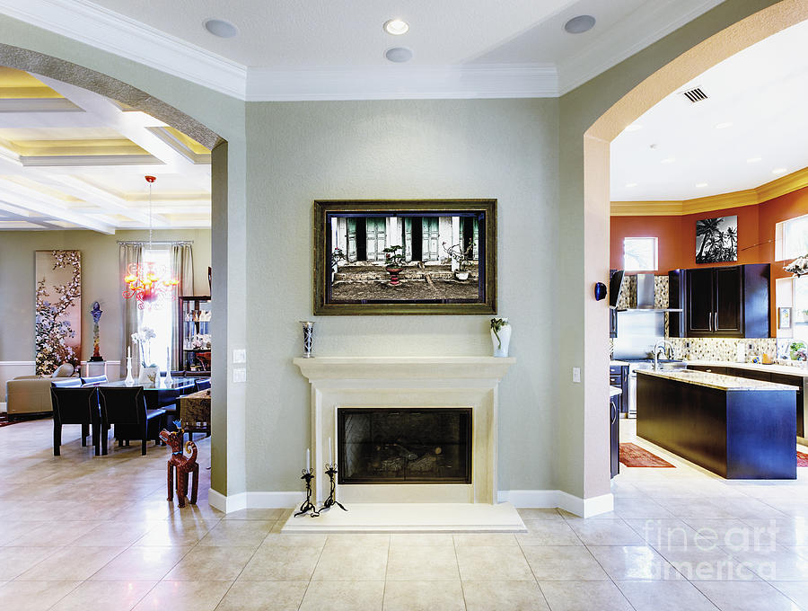 Luxury home fireplace and hallway photograph by skip nall Luxury fireplaces luxury homes
