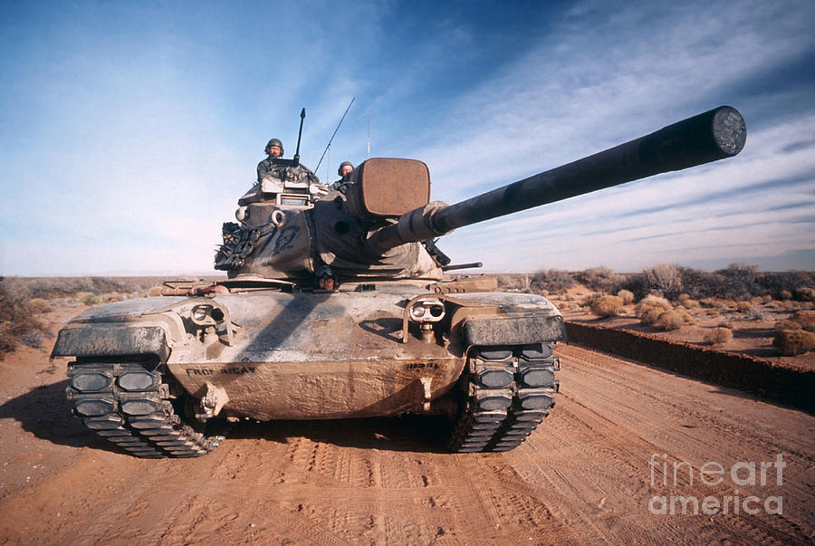 Horizontal Photograph - M-60 Battle Tank In Motion by Stocktrek Images