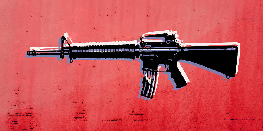M16 Assault Rifle On Red Digital Art