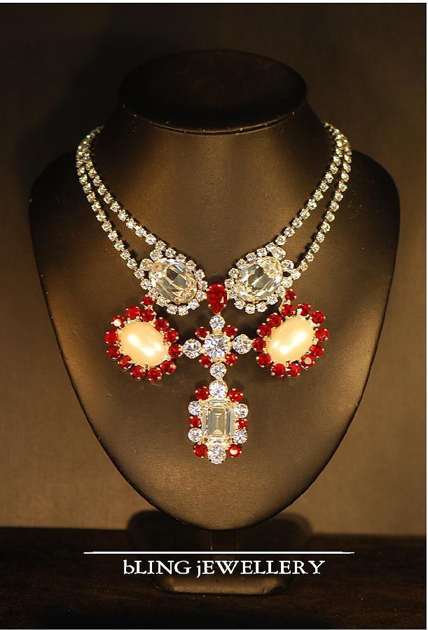 Mabe Pearl And Siam Crystal Necklace Jewelry