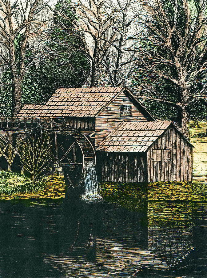 Mabry Mill Drawing  - Mabry Mill Fine Art Print