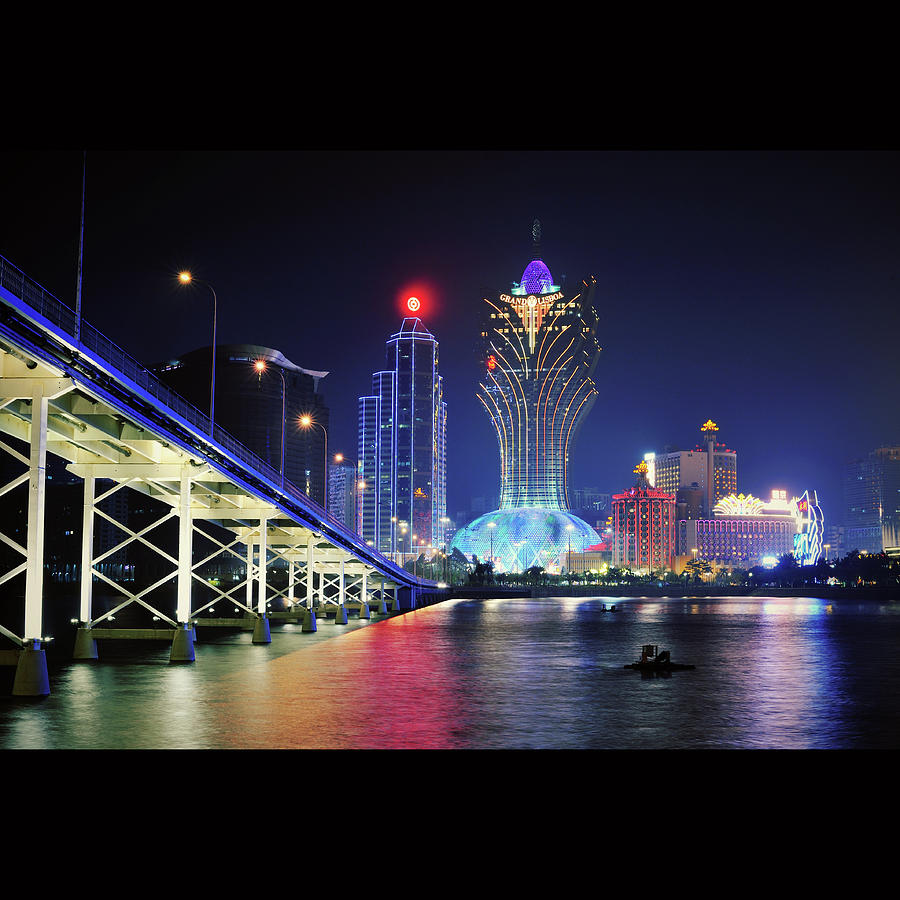 Square Photograph - Macau City At Night by Thank you for choosing my work.
