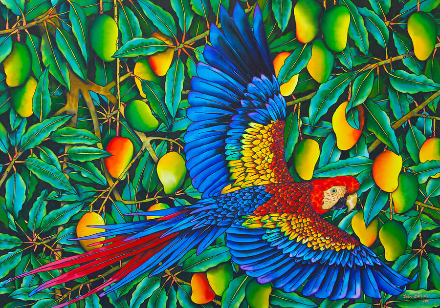 Macaw In Mango Tree Painting  - Macaw In Mango Tree Fine Art Print